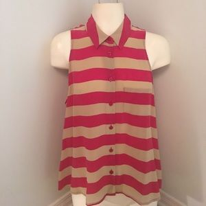 Equipment Femme Silk Sleeveless Shirt Red Stripe S